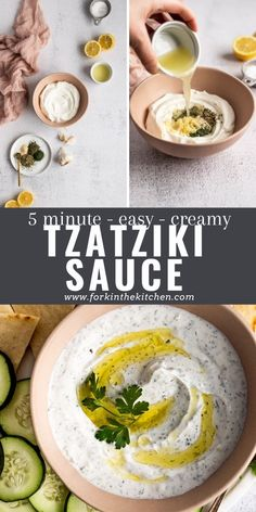 Mediterranean Diet Breakfast, Mediterranean Dishes, Tzatziki Recipes, Tzatziki Sauce, Easy Weeknight Meals, Quick Easy Meals, Quick Recipes, Dip Recipes, Vegetarian Recipes