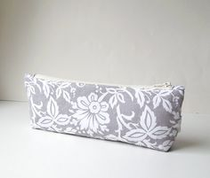 Gray and White Long Pencil Case Zipper Pouch with by SeaPinks, $11.00