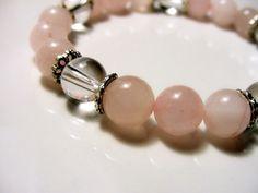 Curación de pulsera elástica cuarzo rosa y pulsera de cristal