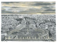 Vatican City (Rome) - drawings and paintings by Stephen Wiltshire MBE who has autism.