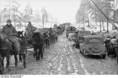 German troops transported by horses and  few vehicles.Russia 22 December 1943