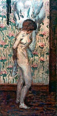 Pierre Bonnard - Frauenakt vor rosa Tapete 1910