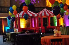 It's all about color when you're planning a circus themed event.  You can get a lot of color with up-lighting.