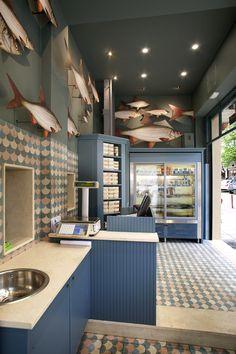 Restaurant Interior Design, Cafe Interior, Shop Interior Design, Supermarket Design, Retail Store Design, Seafood Shop, Seafood Market, Bistro Design, Fish And Chip Shop