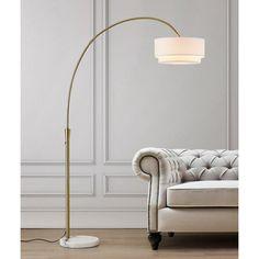 Yellow Floor Lamps, Arc Floor Lamps, Brass Floor Lamp, Cool Floor Lamps, Retro Living Rooms, Linen Lamp Shades, Arc Lamp, Torchiere Floor Lamp, Contemporary Floor Lamps