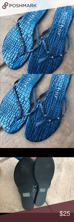 White House Black Market sandals Very gently used!  Pretty blue with a faux reptile texture.  Bundle for a discount White House Black Market Shoes Sandals