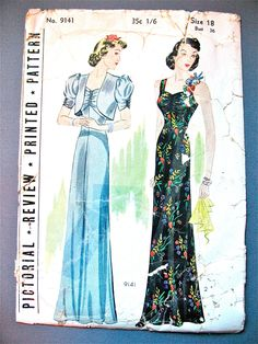 1930s Evening Gown Pattern by Pictorial Review 9141 by Fancywork