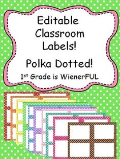 Editable Polka Dotted Labels~3 sizes each color! Colors to choose from:  Red, Orange, Yellow, Green, light blue, Violet, Turquoise, Hot Pink, Light pink, Brown!  Small, Medium and Large!  See preview pictures!  You can change the font, font color, font size and even add clip art!