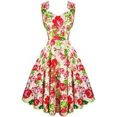 Hearts Roses London Cream Floral Vintage Retro 1950s Flared Tea Dress... (81 AUD) ❤ liked on Polyvore featuring dresses, white prom dresses, vintage floral dress, white tea-length dresses, vintage prom dresses and floral fit-and-flare dresses