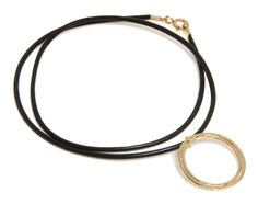 14K Gold Filled leather necklace with double ring statement pendant Free Shipping 14K Gold plated statement leather necklace with circular on Etsy, 97.15 ₪