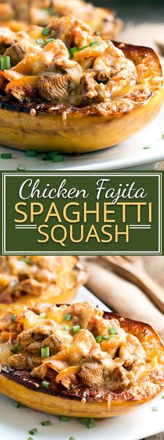 Chicken Fajita Spaghetti Squash Bowls that are full of yummy Mexican-flavored chicken and tons of veggies! These stuffed spaghetti squash are a great healthy gluten-free dinner option when you are craving Mexican food. Low Carb Recipes, Cooking Recipes, Healthy Recipes, Bariatric Recipes, Healthy Foods, Gluten Free Spaghetti Squash Recipe, Healthy Spaghetti Squash Recipes, Paleo Dinner, Dinner Recipes