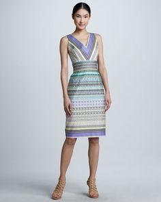 Stripe-Pattern Sleeveless Dress by David Meister at Neiman Marcus.