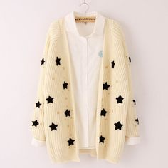 Korea fashion star sweater cardigan from Asian Cute {Kawaii Clothing} Kawaii Fashion, Cute Fashion, Star Fashion, Fashion Outfits, Womens Fashion, Fashion Check, Fashion Coat, Cheap Fashion, Cute Casual Outfits
