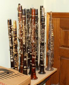 "Collection of ""oddball clarinets"" plus a Chu Berry C soprano sax  - PICT3072 by TheBestOfAllWorlds, via Flickr"