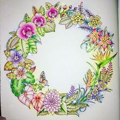Coloured By Samantha Jane Wilkes. Tropical Wreath from Magical Jungle by Johanna Johanna Basford Adult Coloring, Coloring Books, Coloring Pages, Coloring Stuff, Jungle Flowers, Colorful Flowers, Copic, Lost Ocean, Magical Jungle Johanna Basford