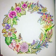 Coloured By Samantha Jane Wilkes. Tropical Wreath from Magical Jungle by Johanna Johanna Basford Colouring Pages, Adult Coloring Pages, Coloring Books, Coloring Stuff, Jungle Flowers, Colorful Flowers, Copic, Lost Ocean, Magical Jungle Johanna Basford