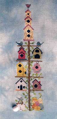 Spring Birdhouse Pole (cross stitch)
