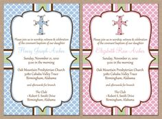 12 Personalized and Printed Baby Boy OR Girl Cross Baptism / Christening Dedication Shower Invitations with envelopes. $13.95, via Etsy.