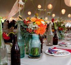 floral runner using vintage flower vases, jars and bottles