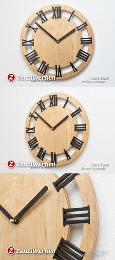 Wall clock, 'Roman Numerals', Birch plywood, Smocked Oak, Concentric rings