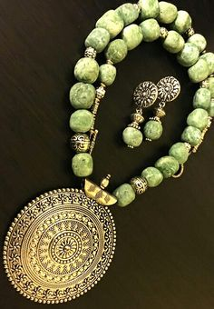 QINGHAI JADE BEAD CHIPS COMBINED WITH TIBETAN SILVER BEADS AND FINDINGS