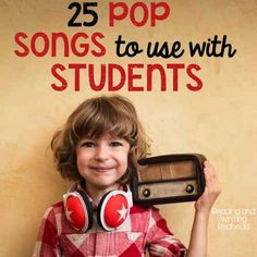 Reading and Writing Redhead: 25 Pop Songs to Use with Students. Great for music ideas for end of the year videos! Great ideas for choosing a song to accompany a lesson or to just play in the background. For more posts like this check out my blog at www.readingandwritingredhead and sign up for my free newsletter: eepurl.com/DFyuj