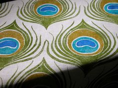 Peacock Feather hand printed linen fabric 1/2 yard. $45.00, via Etsy.