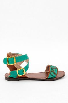How cute are these for under $30?!Athena Woven Ankle Sandals in Sea Green $28 at www.tobi.com