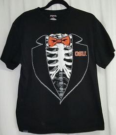 NCAA Oklahoma State Cowboys fall '14 skeleton bowtie OSU black Jansport tee SZ L…