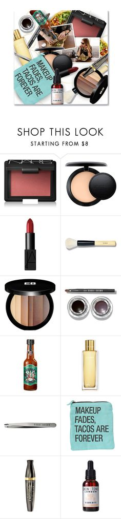 """""""makeup fades, tacos are forever"""" by eilselrenrag ❤ liked on Polyvore featuring beauty, NARS Cosmetics, MAC Cosmetics, Bobbi Brown Cosmetics, Edward Bess, Christian Dior, Bourjois, Skin & Tonic and makeupbag"""