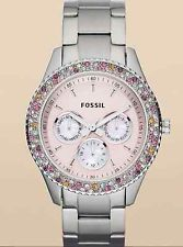 NEW Fossil ES 3050 SS band Pink face Multi-Color Crystal BLING bezel NWT