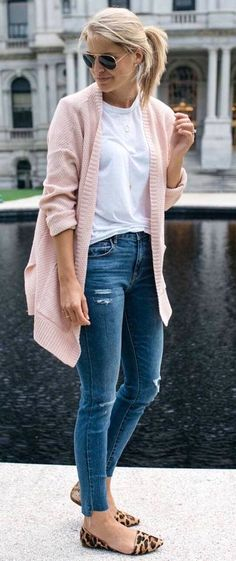 Lauren, Love blush pink sweater, love tee, want these flats and jeans could be a bit shorter by not being step hem? #fall #outfits women's pink sweater