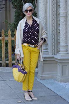 <outfit post> mello yellow:    denim @JCrew; blouse @LOFT; belt @Agnes B; vintage pashmina; handbag @Lowe; sunglasses @RayBan