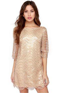 Apricot Half Sleeve Hollow Backless Dress