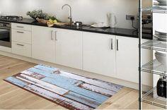 Kitchen rug -  model blue parket - suitable for kitchen, bathroom, entrance, garden  / kitchen floor mat / kitchen mat by Printip on Etsy