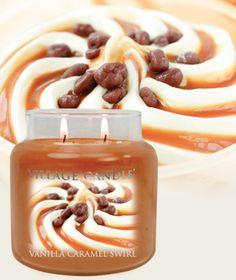 Vanilla Carmel Swirl-Premium Round Scented Candles | Village Candle