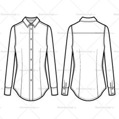 Classic, long sleeve button down shirt with pointed collars. Has hem darts at front and back. Sleeves have a 2 button sleeve cuff with a slit and a pleat. Sketc
