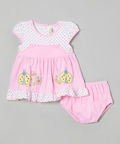 Look at this #zulilyfind! Pink Polka Dot Ladybug Dress & Diaper Cover - Infant by Lele for Kids #zulilyfinds
