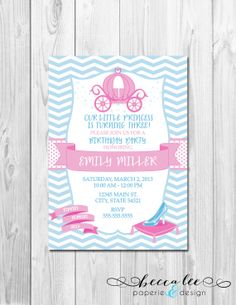 Cinderella Inspired Birthday Party Invitation - Pink and Blue - DIY - Printable