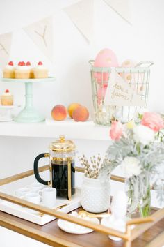 A golden french press and coffee cart spready for Easter Sunday   sugarandcloth.com