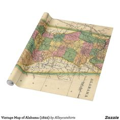 Vintage Map of Alabama (1822) Wrapping Paper