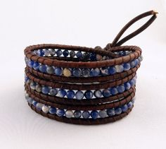 Denim Blue Brown Leather Wrap Bracelet Sodalite by BelkysBracelets, $44.00