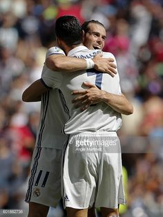 Cristiano Ronaldo of Real Madrid celebrates with Gareth Bale after scoring the opening goal during the La Liga match between Real Madrid CF and CA...
