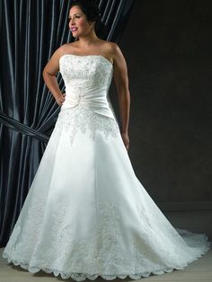 Vintage Wedding Dresses For Sale Strapless Plus Size A Line Wedding Dress Beading Court Train Lace Up Satin Bridal Wedding Dress Gown No:09 Wedding Dress Collections From Discountweddingshop, $146.6| Dhgate.Com