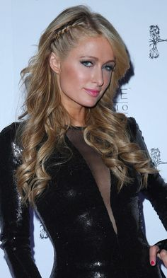 Paris Hilton at Hyde Bellagio In Las Vegas for her New Year& Eve DJ set - 31 December 2013 Night Out Hairstyles, Rock Hairstyles, Sleek Hairstyles, Party Hairstyles, Straight Hairstyles, Braided Hairstyles, Wedding Hairstyles, Vegas Hair, Side French Braids