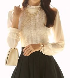 Elegant Women's Stand Collar Lace Splicing Long Sleeve Blouse
