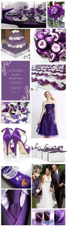 Cute ideas for a purple wedding. Like the cake.