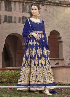 Immaculate Navy Blue Anarkali Salwar Kameez
