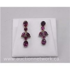 One Pair of Ladies 9kt (AT) yellow Gold Antique Ruby Drop Floral Style earrings with 4 Oval Faceted - Auction Network