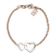 Bracelet with linked hearts pendant. Both hearts with coloured enamel fill.